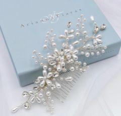 Arianna Honeysuckle Pearl Floral Hair Comb AR607