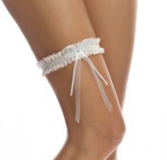 Bianco Narrow Ivory Lace Wedding Garter with Diamante Bow
