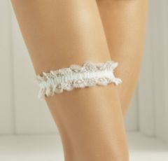 Bianco Simple Ivory Lace Garter with Pale Blue Band