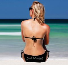 Black Diamante 'Just Married' Tie Side Bridal Bikini