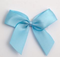 Pale Blue Satin Self Adhesive Bow - Pack of 12