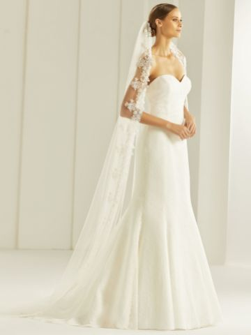 Bianco Single Tier Guipure Lace Edge Cathedral Veil S256