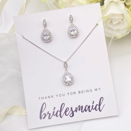 'Thank You For Being My Bridesmaid' Crystal Embellished Jewellery Set