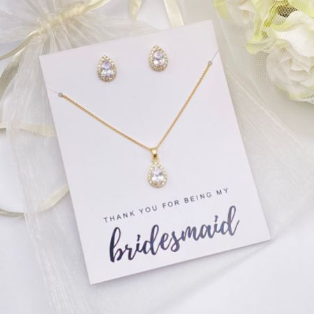 'Thank You For Being My Bridesmaid' Gold Crystal Stud Jewellery Set