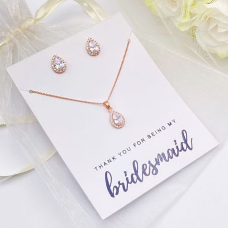 'Thank You For Being My Bridesmaid' Rose Gold Crystal Stud Jewellery Set