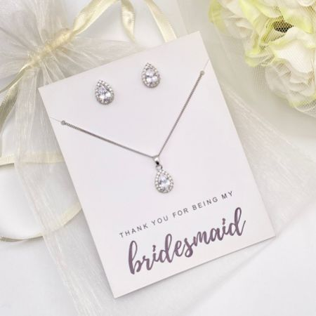'Thank You For Being My Bridesmaid' Silver Crystal Stud Jewellery Set
