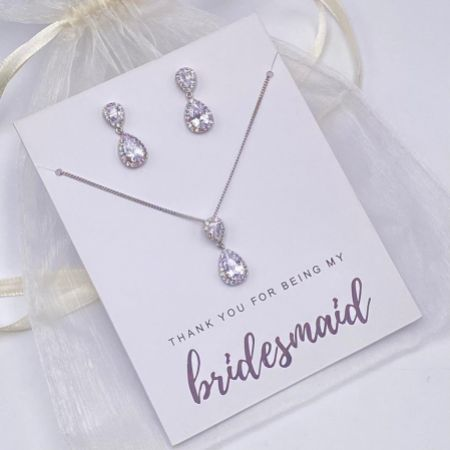 'Thank You For Being My Bridesmaid' Silver Teardrop Crystal Jewellery Set