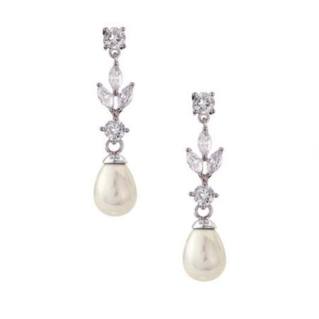 Abella Cubic Zirconia and Pearl Drop Earrings