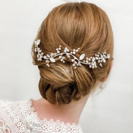 Adeline Opal Crystal and Pearl Wedding Hair Vine
