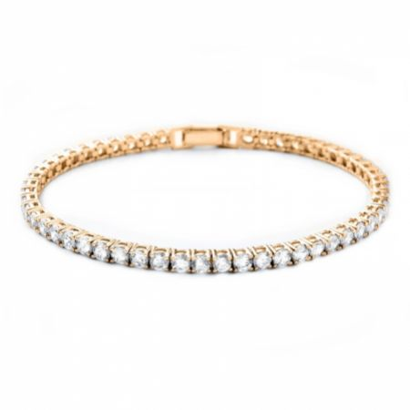 Alanna Simple Cubic Zirconia Tennis Bracelet (Gold)