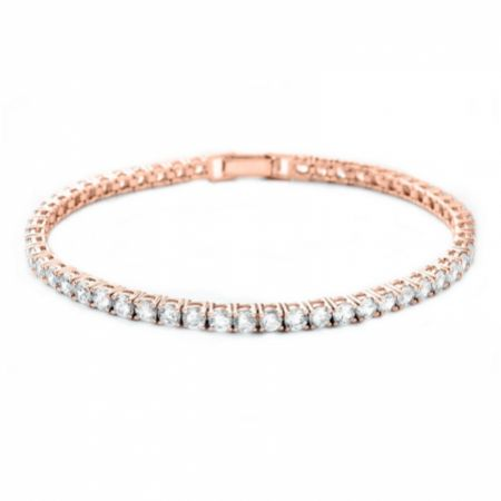 Alanna Simple Cubic Zirconia Tennis Bracelet (Rose Gold)