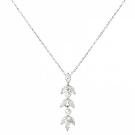 Amalia Silver Cubic Zirconia and Pearl Pendant Necklace