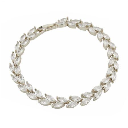 Amara Silver Crystal Vine of Leaves Bracelet