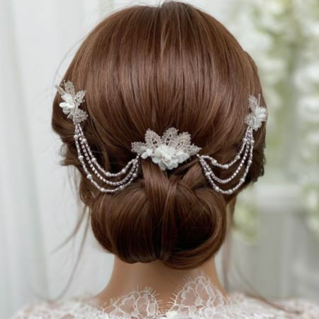 Amelia Silver Lace Leaves and Opal Crystal Floral Hair Drape