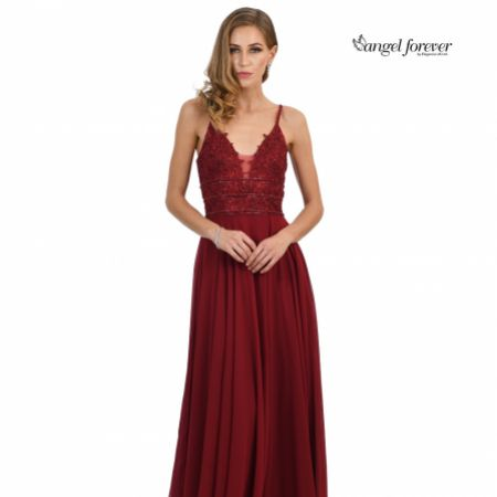 Angel Forever Beaded Lace A Line Chiffon Prom Dress with Slit (Burgundy)