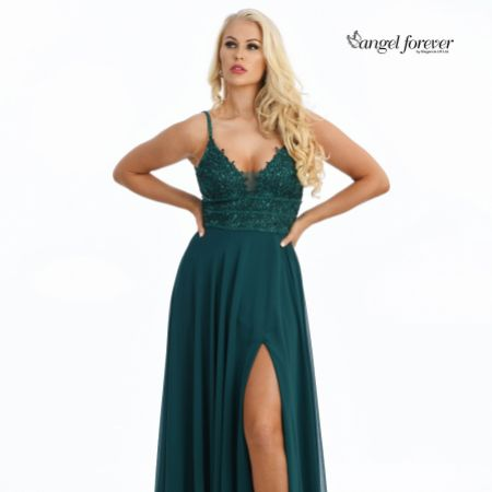 Angel Forever Beaded Lace A Line Chiffon Prom Dress with Slit (Emerald)