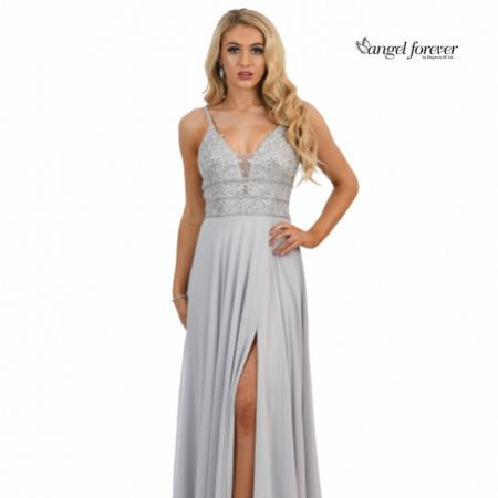 Angel Forever Beaded Lace A Line Chiffon Prom Dress with Slit (Silver)