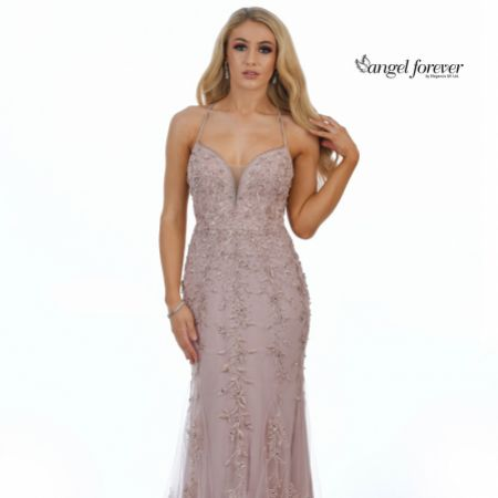 Angel Forever Beaded Lace Backless Fishtail Prom Dress (Rose Gold)