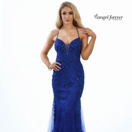 Angel Forever Beaded Lace Backless Fishtail Prom Dress (Royal Blue)
