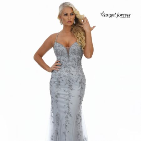 Angel Forever Beaded Lace Backless Fishtail Prom Dress (Silver)
