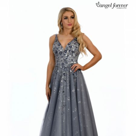 Angel Forever Beaded V Neck Sparkly Tulle Ball Gown Prom Dress (Dusty Blue)