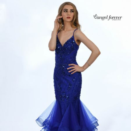 Angel Forever Embellished Mermaid Prom Dress with Spaghetti Straps (Royal Blue)