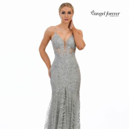 Angel Forever Glitter Lace Fitted Corset Prom Dress (Silver)