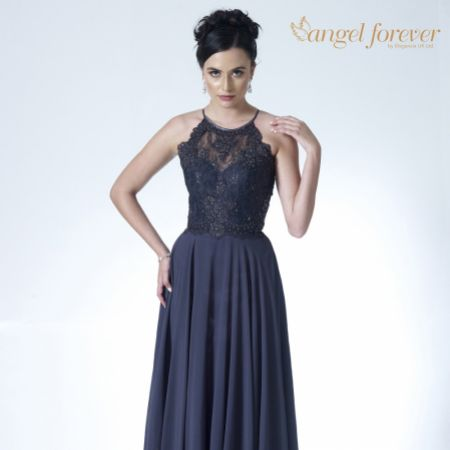 Angel Forever High Neck Lace Bodice A Line Chiffon Prom Dress (Charcoal)