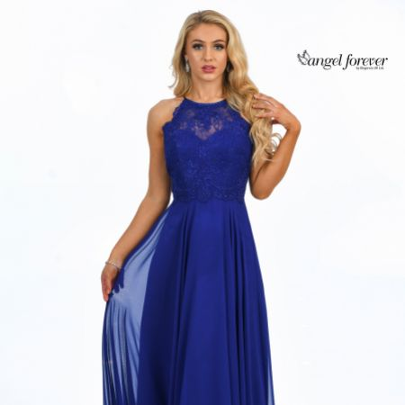 Angel Forever High Neck Lace Bodice A Line Chiffon Prom Dress (Royal Blue)