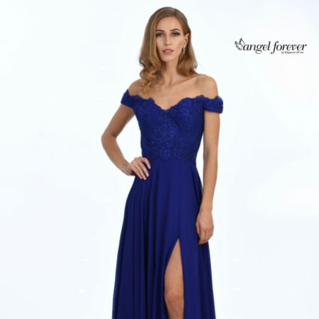 Angel Forever Off The Shoulder Chiffon Prom Dress with Lace Bodice (Royal Blue)
