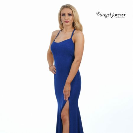 Angel Forever Shimmer Fabric Backless Fishtail Prom Dress with Slit (Royal Blue)
