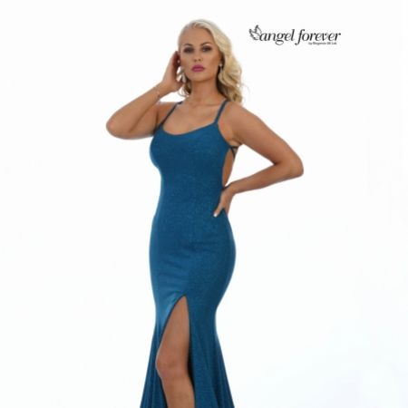 Angel Forever Shimmer Fabric Backless Fishtail Prom Dress with Slit (Teal)