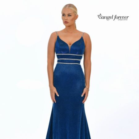 Angel Forever Shimmer Fabric Fishtail Prom Dress with Diamante Detail (Royal Blue)