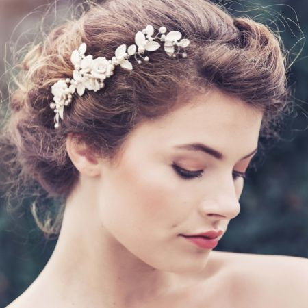 Angelina Porcelain Flowers and Leaves Bridal Hair Comb