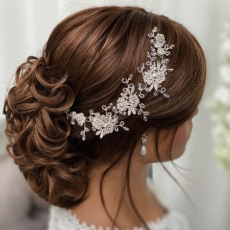 Antheia Silver Lace Flowers and Crystal Hair Vine