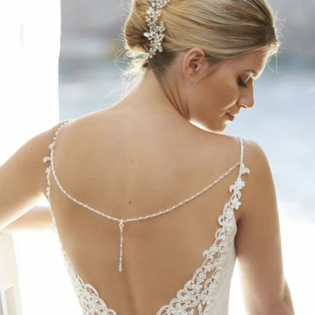 Arianna Astrid Pearl and Crystal Back Jewellery with Diamante Dropper ARN111