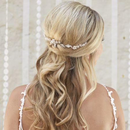 Arianna Calista Pearl and Crystal Mini Wedding Hair Vine AR575