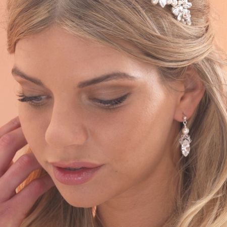 Arianna Crystal and Pearl Wedding Earrings ARE001