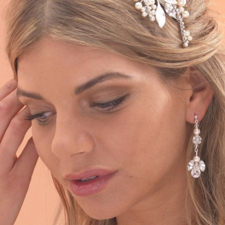 Arianna Diamante and Pearl Chandelier Wedding Earrings ARE087