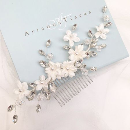 Arianna Enamoured Flowers and Crystal Hair Comb AR603