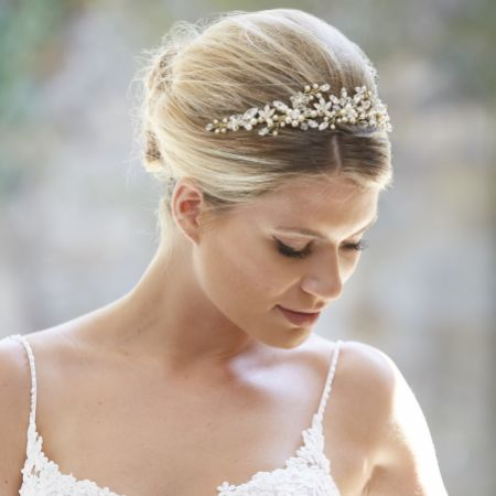 Arianna Evangeline Pearl Blossoms and Crystal Bridal Tiara AR569