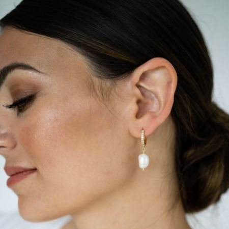 Arianna Gold Diamante Hoop with Drop Pearl Earrings ARE688