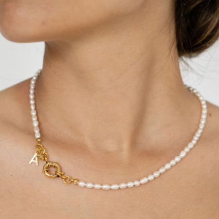 Arianna Gold Personalised Letter Pearl Charm Necklace ARJ683