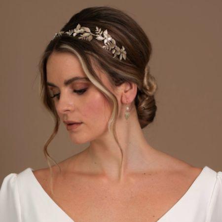 Arianna Iris Flowers and Leaves Wedding Headband AR633