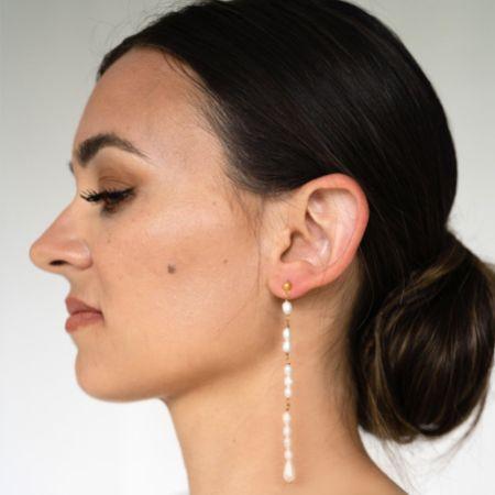 Arianna Linear Long Pearl Drop Earrings ARE694