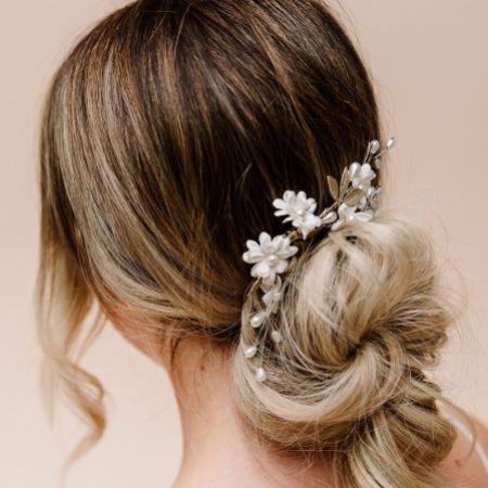 Arianna Magnolia Flowers and Pearl Wedding Hair Comb AR604