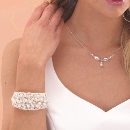 Arianna Pearl and Crystal Chunky Wedding Cuff Bracelet ARW061