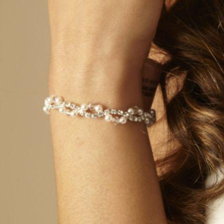 Arianna Pearl and Diamante Wedding Bracelet ARW093