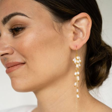 Arianna Pearl Cluster Long Drop Earrings ARE689