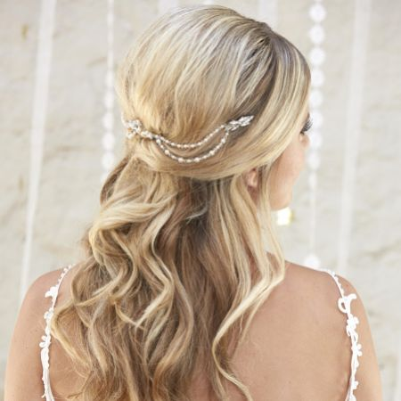 Arianna Seraphina Elegant Pearl and Crystal Bridal Hair Drape AR577